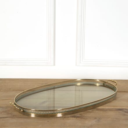 Giant Oval French Brass and Glass Twin Handled Serving Tray DA588980