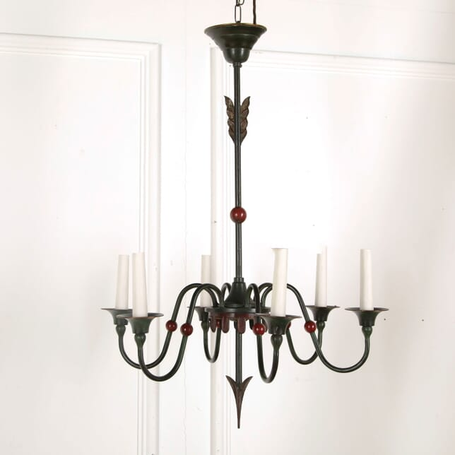 Green and Red Oxide Painted Chandelier LC218040