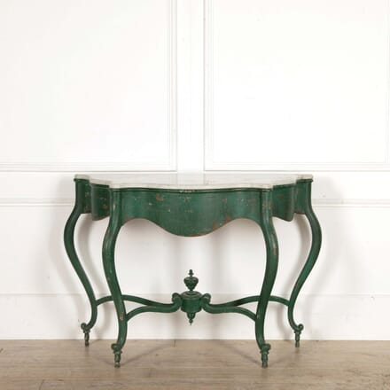 Green Painted Console with Marble Top CO288463