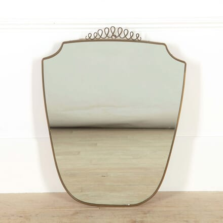 Italian Brass Shield Shaped Mirror MI528805