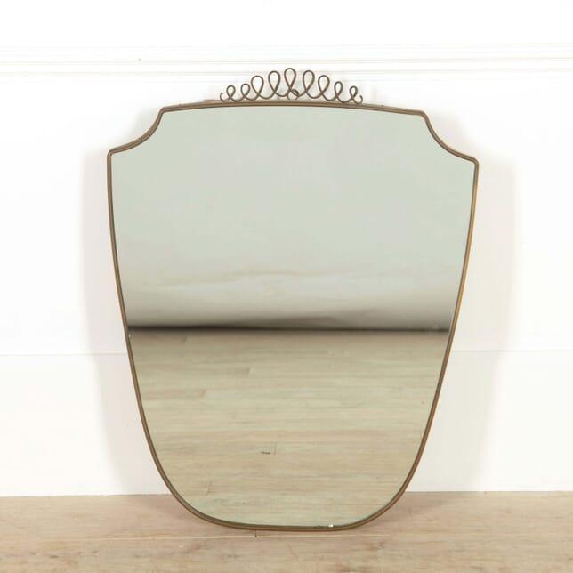 Italian Brass Shield Shaped Mirror MI528805