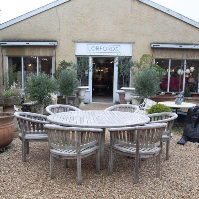 Large Circular Garden Table and Six Armchairs GA908693