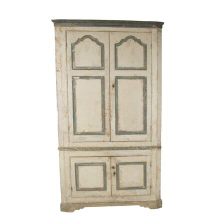 Large George III Painted Pine Floor Standing Corner Cupboard CU0960277