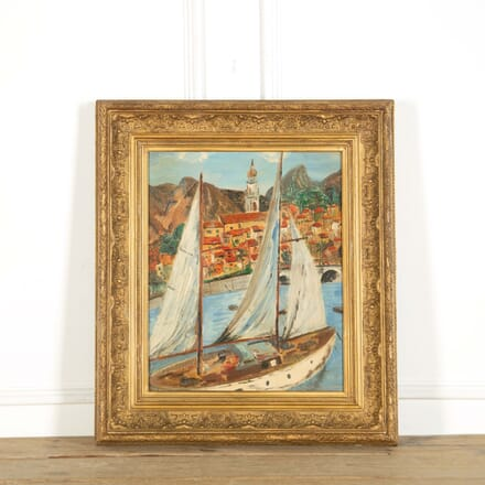 Large Oil Painting on Board of 'Menton Harbour in South of France' WD598857