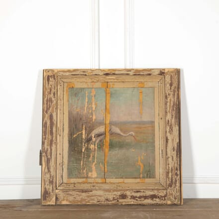 Late 19th Century Painted Wooden Panel of a Heron DA598540