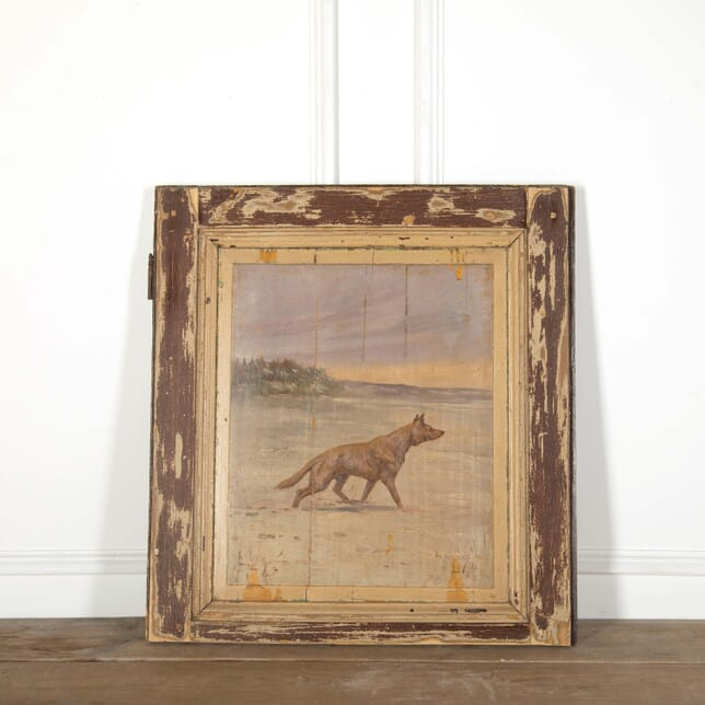 Late 19th Century Painted Wooden Panel of a Wolf DA598539
