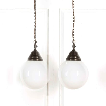 Pair of 14'' Opaline Glass Globes with Original Galleries LC218053