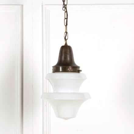 English Art Deco Stepped Opaline Glass Pendant LC218054