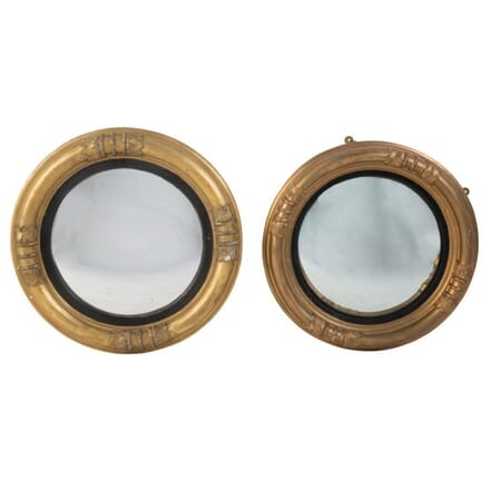 Pair of Late 19th Century French Gilt Convex Wall Mirrors MI139971
