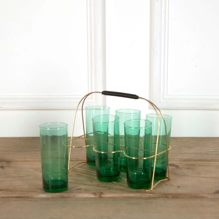Mid 20th Century Green Cocktail Glasses and Gilt Carrying Caddy DA588626