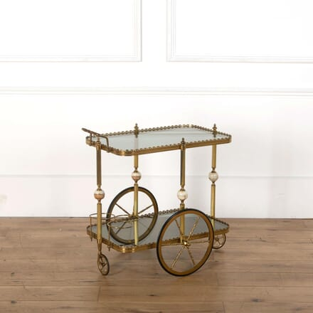 Mid Century Brass and Glass French Drinks Trolley TS598541