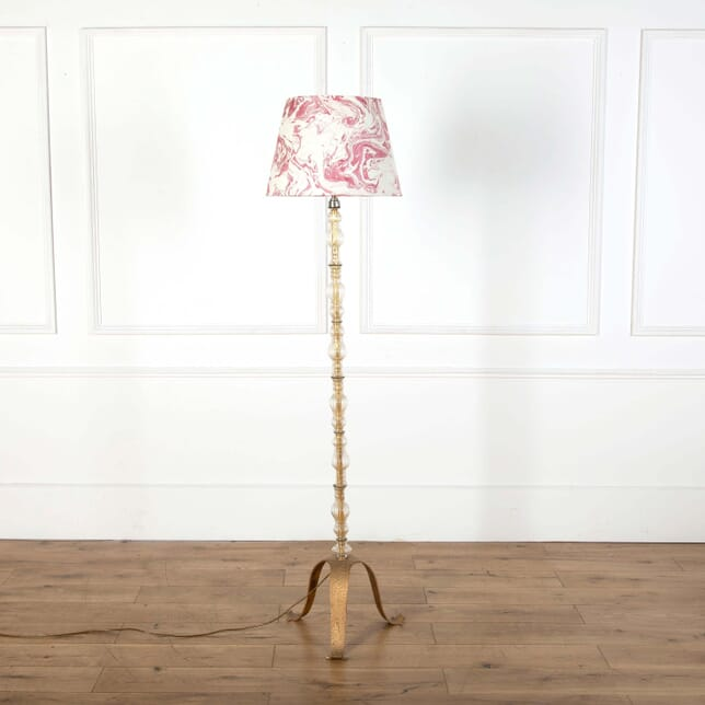 Mid Century French Glass & Brass Floor Lamp LF598543