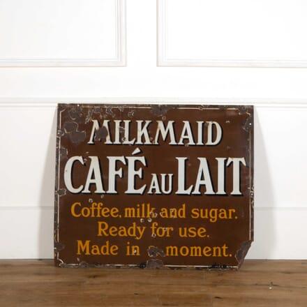 Milkmaid Cafe au Lait Enamel Sign DA408289