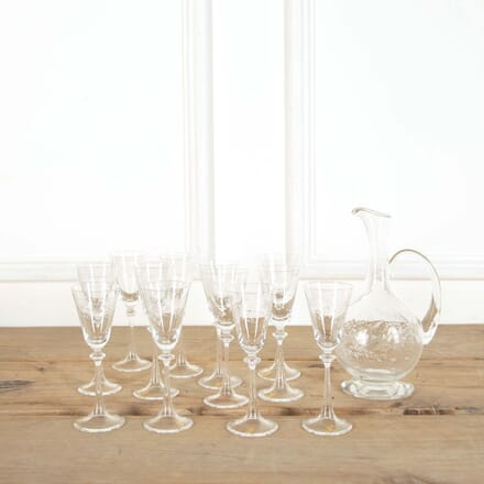 Murano Etched Tall Glasses and Matching Carafe Jug DA588635