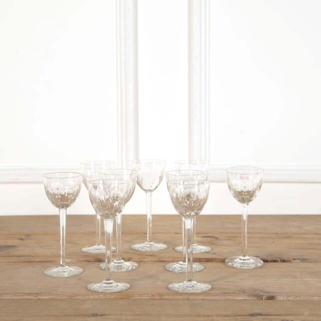 Nine Antique Baccarat Finest Crystal Tall Stem Wine Glasses DA588607