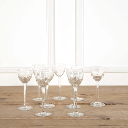 Nine Antique Baccarat Finest Crystal Tall Stem Wine Glasses DA588607