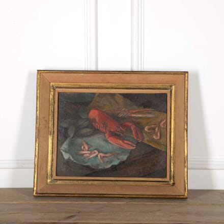 19th Century Seafood Still Life Oil Painting WD358084