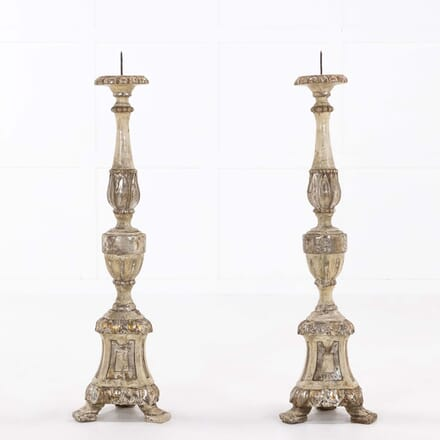 Pair of 18th Century Italian Silver Gilt Torcheres DA068496