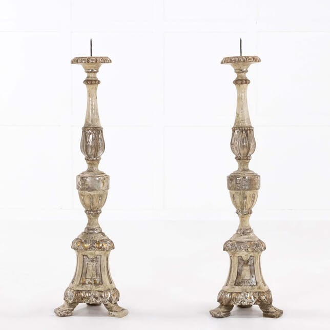 Pair of 18th Century Italian Silver Gilt Torcheres DA068496