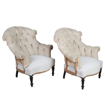 Pair of 19th Century Tufted Lambrequin Armchairs CH158001