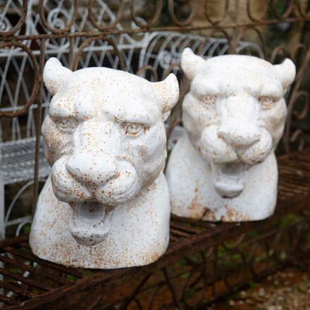 Pair of 20th Century Cast Iron Leopards Heads GA428413