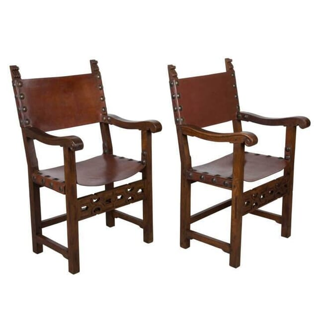 Pair Of Baronial Armchairs CH158011