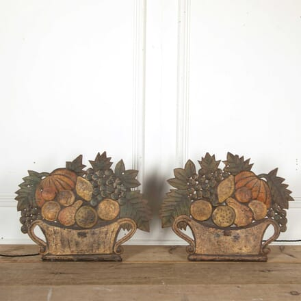 Pair of Decorative Tole Baskets of Flowers LT158213