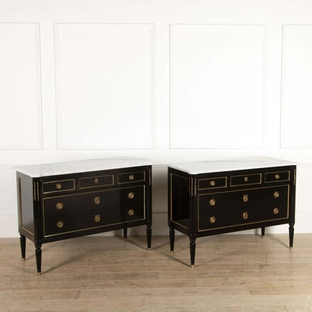 Pair of Ebonised Commodes with White Carrera Marble Tops CC528789