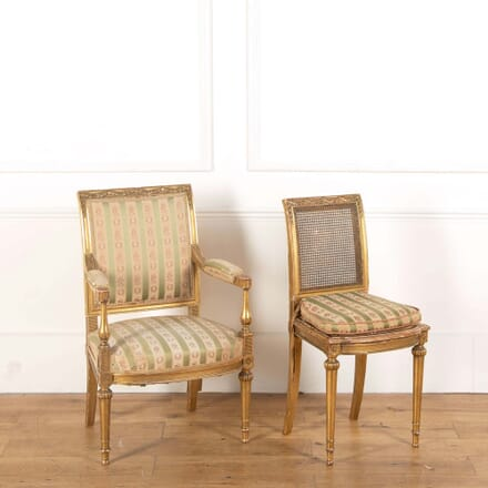 Pair of Gilt Wood and Cane 19th Century Side Chairs OF588634