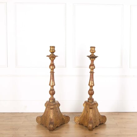 Pair of Italian 19th Century Giltwood Candle Stands DA518556