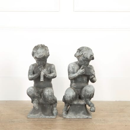 Pair of J P White Lead Garden Figures of Satyr Musicians GA098777