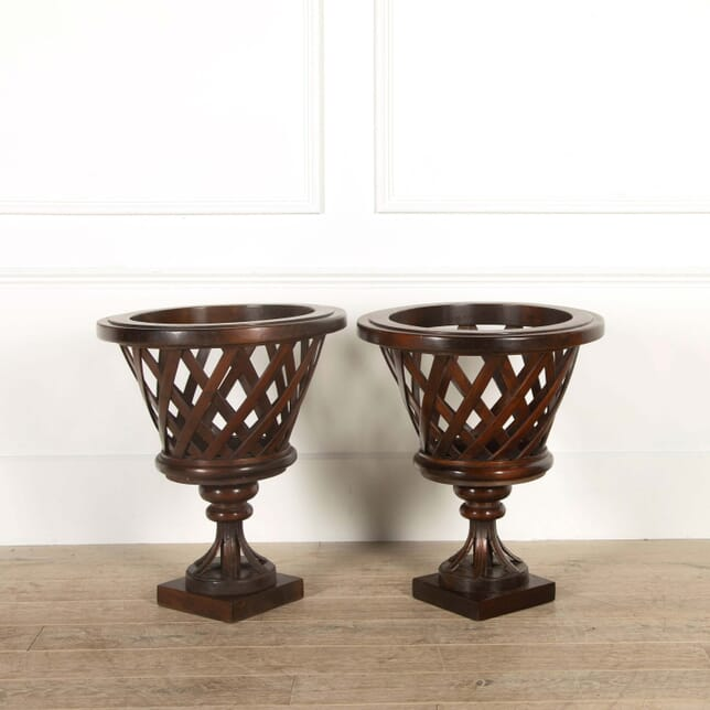 Pair of Large Mahogany Country House Jardiniere GA458802
