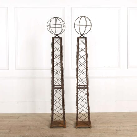 Pair of Mid Century Astrolabe Wrought Iron Obelisks GA298563