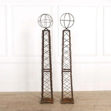 Pair of Mid Century Astrolabe Wrought Iron Obelisks GA298563