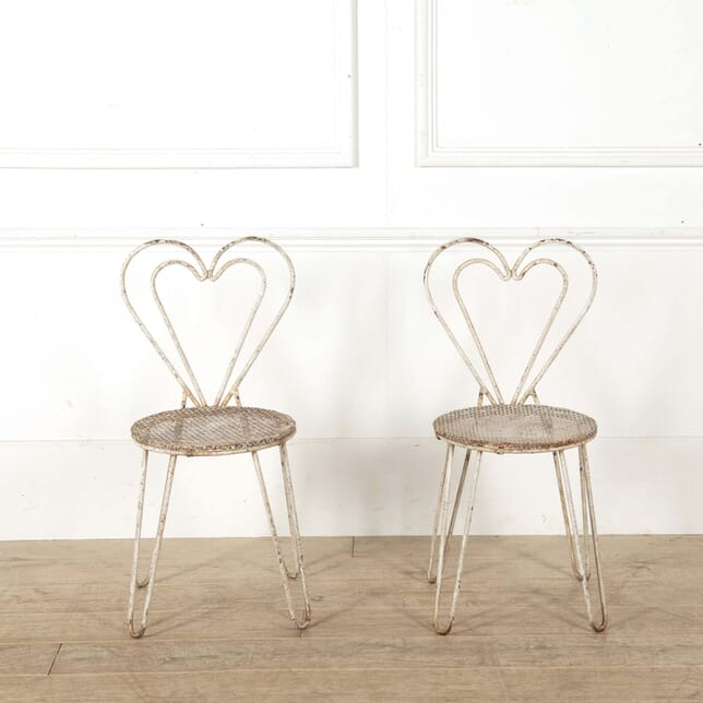 Pair of Mid Century Matégot Attributed Heart Shaped Terrace Chairs CH298568