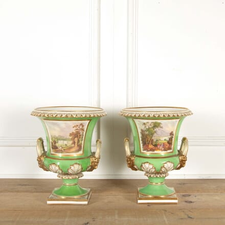Pair of Regency Green Glaze Worcester Vases LT298596