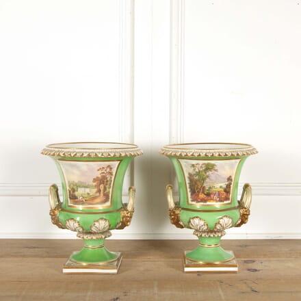 Pair of Regency Green Glaze Worcester Vases LT298596