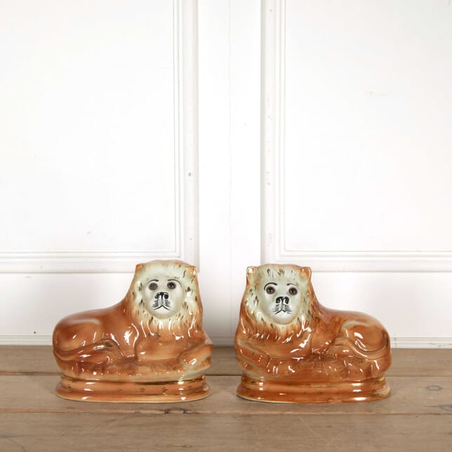 Pair of Staffordshire Lions DA138344