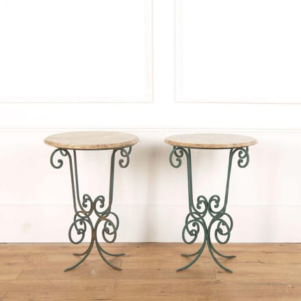 Pair of Stone and Painted Scroll Iron Round Tables CO588507