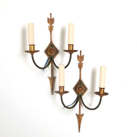 Pair of Two Branch Gilt and Painted Wall Sconces LC218039