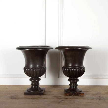 Pair of Wood Urns GA438098