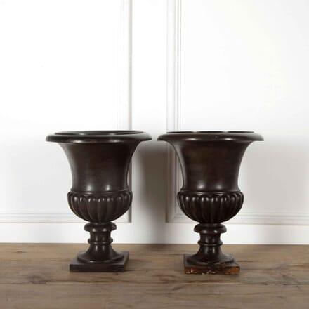Pair of Wood Urns GA438098