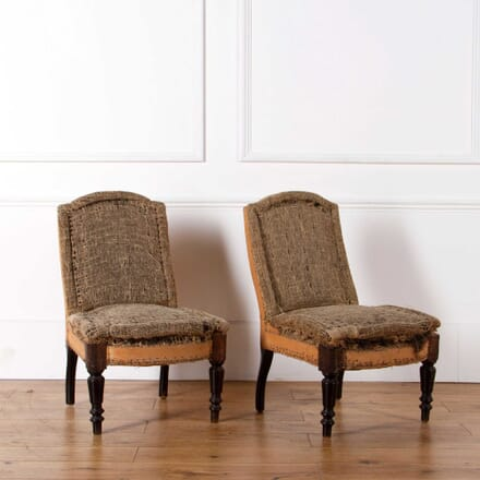 Pair of Banded French Slipper Chairs CH638226
