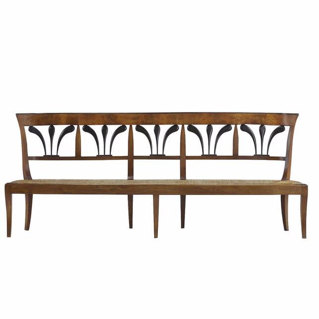 19th Century Biedermeier Walnut and Rush Seat Bench SB068043