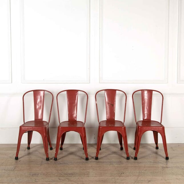 Set of 4 Red Metal Tolix Chairs GA448177