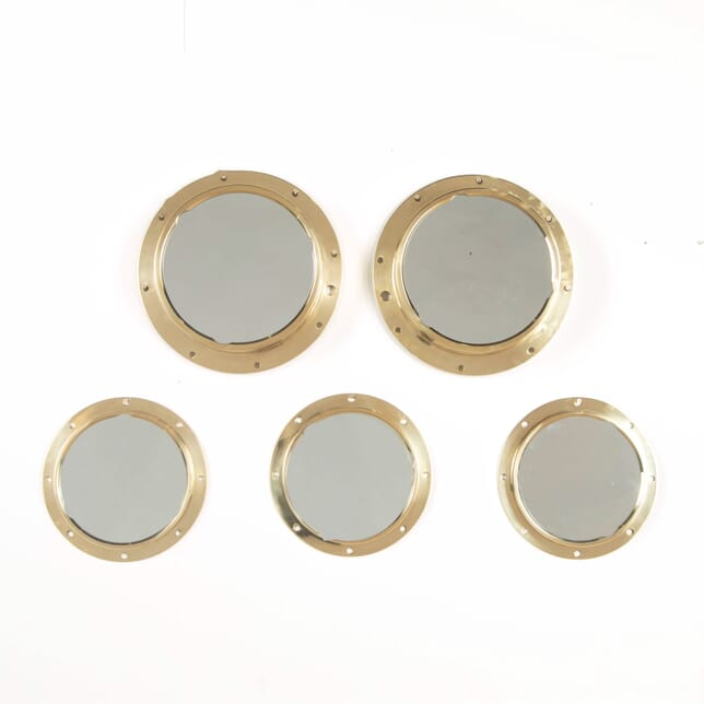 Set of 5 Ex Royal Navy Brass Cosworth Engine Bearing Housing Mirrors MI998904