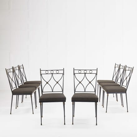 Set of Eight French 1930s Wrought Iron and Brass Chairs CD068478