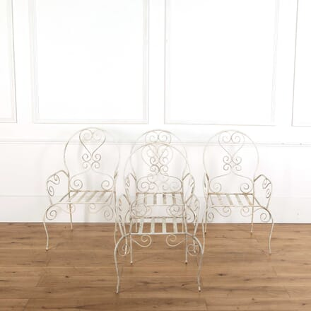 Set of Four Painted Iron Garden Chairs GA748853