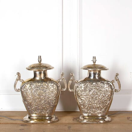 Silver Plated Anglo-Indian Vases LT088233