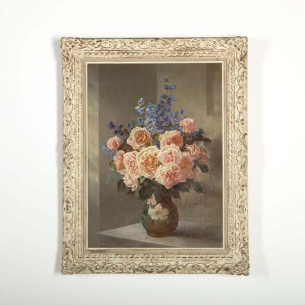 Still Life Roses and Delphiniums by Edward Rawstorne WD288512